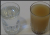 dirty water glass and clean water in a glass